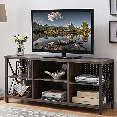 IBF Universal TV Stand for TVs up to 65 Inch, Mid Century Modern Entertainment Center with Storage Shelves, Industrial Wood and Metal Media TV Console for Bedroom Living Room, Grey Oak, 55 Inch