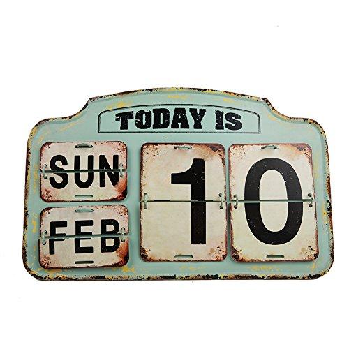 NIKKY HOME Shabby Chic Matall ewiger Schreibtisch Kalender, Grün