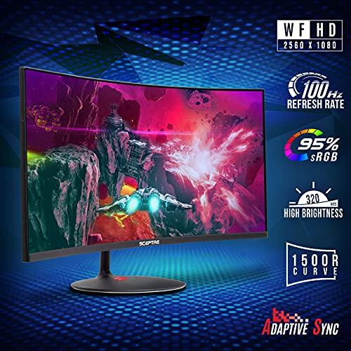 Sceptre 34-inch Curved UltraWide 21: 9 Creative LED Monitor 2560x1080 Frameless HDMI DisplayPort Up to 100Hz, Machine Black 2020 (C345W-2560UN)