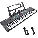 RenFox 61-Key Electric Piano Keyboard with Microphone & Music Stand Portable Electronic Kids Piano Keyboard Multifunction Kids Teaching Music Keyboard Piano for Beginners Boys Girls