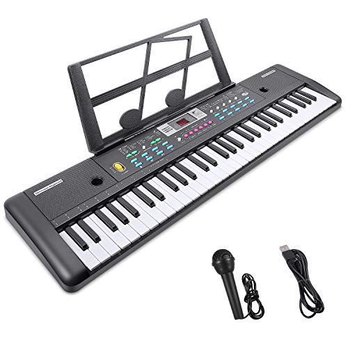 RenFox 61-Key Electric Piano Keyboard with Music Stand & Microphone Portable Electronic Kids Piano Keyboard Multifunction Kids Teaching Music Keyboard Piano for Beginners Boys Girls 29.9 W x 7.9 D