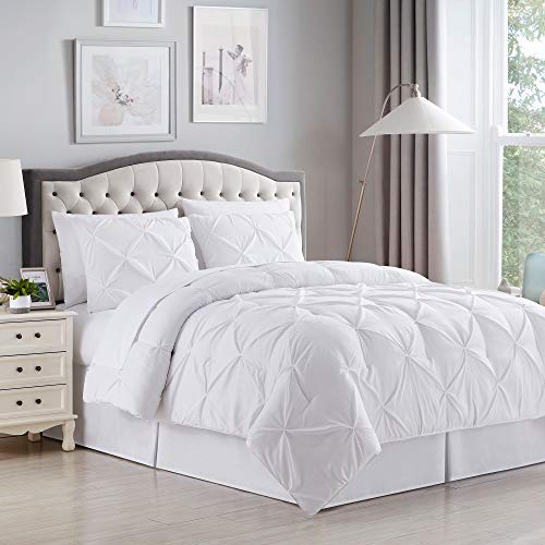 Sweet Home Collection 8 Piece Comforter Set Bag with Unique Design, Bed Sheets, 2 Pillowcases & 2 Shams Down Alternative All Season Warmth, Queen, Pintuck White