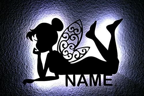 LED Deko Schlummerlicht Nachtlicht Fee Mädchen Elfe mit Flügel liegend, personalisiert mit Wunsch Namen Lasergravur Abendlicht Kinderzimmer Wohnzimmer Geschenk