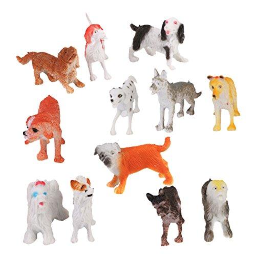 Lot de 12pcs Figurine Chien en Plastique Modèle Animal Jouet Multi-couleur