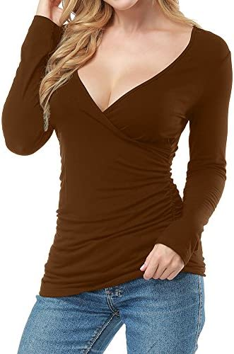 Allegrace Women Open V Front Wrap Pleated Slim Top Tee Long Sleeve Ruched T Shirt Brown M product image