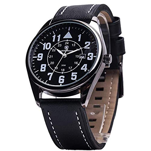 Smith & Wesson Men's SWW-6063 The Civilian Black Leather Strap Watch