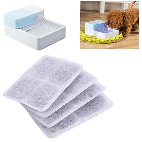 ELEOPTION Activated Carbon Filter Replace for Pet Dog Water Fountain, 4pcs