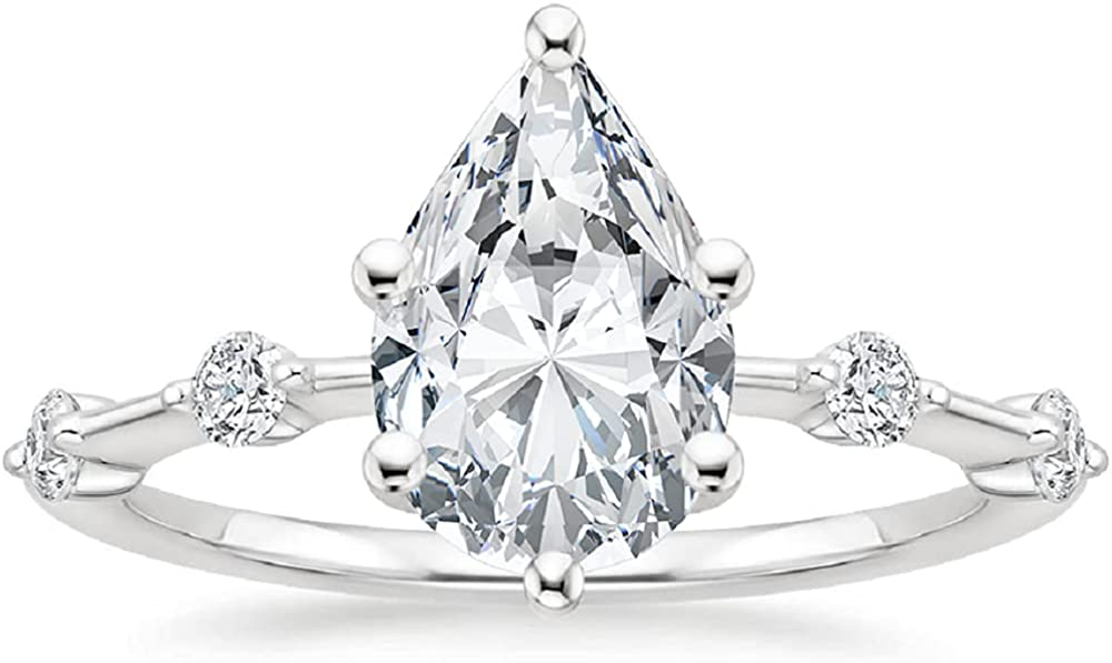 Gemonite 2.50 CT Pear Colorless Moissanite Engagement Ring For W