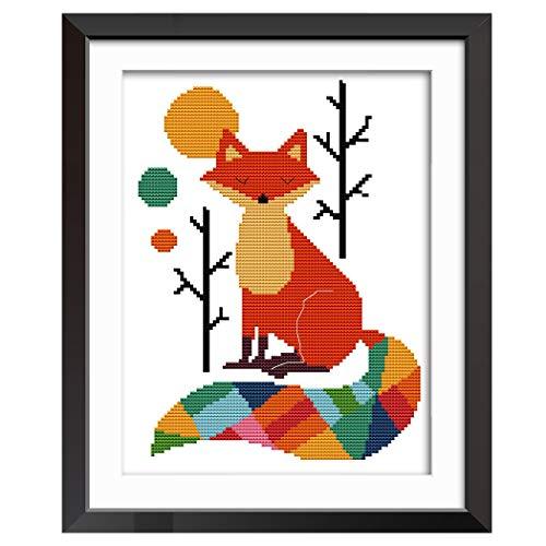 MWOOT DIY Point de Croix Kit de Broderie,11CT Renard Coloré Cross Stitch Embroidery Starter Kit,Kit de Couture à La Main pour Adultes (28x38cm)