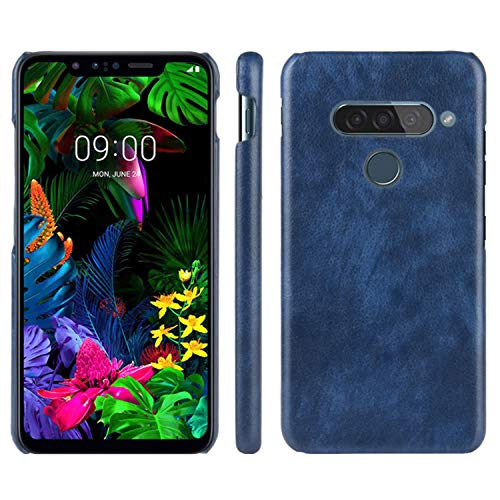 HualuBro Handyhülle für LG G8S ThinQ Hülle, Retro PU Leder Ultra Slim Stoßfest Schutzhülle Lederhülle Back Bumper Hülle Cover für LG G8S ThinQ Tasche (Blau)