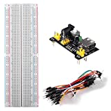 ACEIRMC for Arduino Starter Kits 830 MB-102 Tie Points Solderless Breadboard + 3.3V 5V Power Supply Module + 65pcs Jumper Cables K3