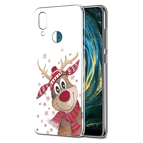Cover Huawei P20 Lite, Eouine Custodia Cover Trasparente con Natale Disegni Ultra Slim TPU Silicone Morbido Antiurto 3D Cartoon Bumper Case per Huawei P20 Lite Smartphone (Cervi di Natale)