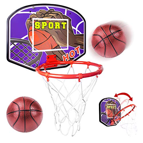 Over Door Basketball Hoop Foldable Mini Indoor Basketball Goal with 2 Balls, Wooden Backboard, Rim, Net, Sport Activities Gift Toys for Toddlers Kids Boys Girls Child Teen Age 3 4 5 6 7 8 Years Old