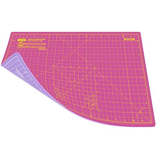 ANSIO Schneidematte Selbstheilende A3 Doppelseitige 5 Schichten sassend für Kunst, Nähen - Imperial/Metric 17 x 11 Zoll / 42 x 27 cm - Super Rosa/Lavendel Lila
