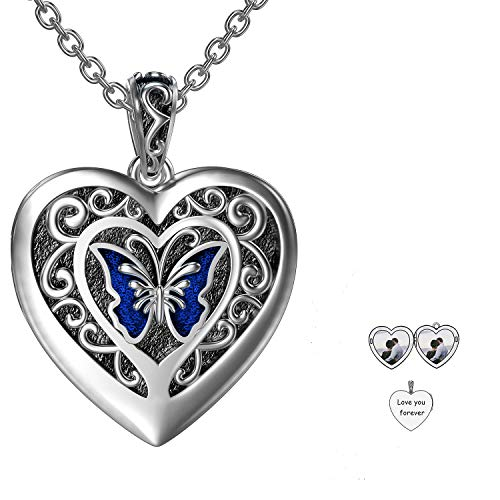 RMREWY Butterfly Heart Shaped Photo Locket Necklace 925 Sterling Silver That Holds Pictures Custom Name Jewelry Personalized Locket Necklace for Women