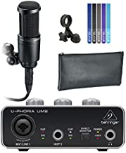Audio Technica AT2020 Cardioid Condenser Microphone for Home Studio Recording Bundle with Behringer U-PHORIA UM2 USB Audio Interface for Windows and Mac, and Blucoil 5-Pack of Reusable Cable Ties