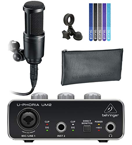 Audio-Technica AT2020 Cardioid Condenser Microphone for Home Studio Recording Bundle with U-PHORIA UM2 USB Audio Interface with 48V Phantom Power, and Blucoil 5-Pack of Reusable Cable Ties