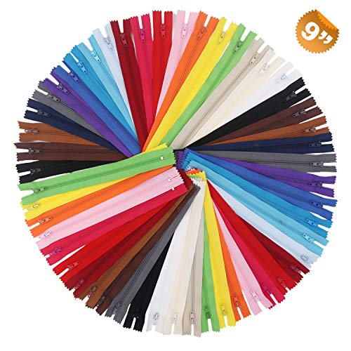 EuTengHao 100Pcs Nylon Coil Zippers 9 Inch Colorful Nylon Zipper for Sewing Bulk Sweing Zipper Supplies with Zipper Presser Foot for Tailor Sewing Crafts Clothing Bags Handicrafts (20 Colors)
