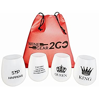 4 Wine Glasses Unbreakable W/Bag-Great Gift Food Grade Silicone Funny and Durable Shatterproof Stemless Great for Wine Beer Whiskey Cocktail any Beverage Outdoor Party Pool Camping Beach Too Funny