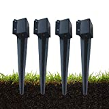 MTB Fence Post Anchor Ground Spike Metal Black Powder Coated 24 x 4 x 4 Inches Outer Diameter (Inner Diameter 3.5 x3.5 Inches), Pack of 4
