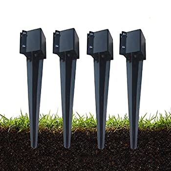 MTB Fence Post Anchor Ground Spike Metal Black Powder Coated 24 x 4 x 4 Inches Outer Diameter  Inner Diameter 3.5 x3.5 Inches  Pack of 4