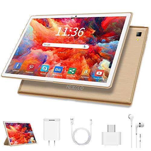 Tablet 10.1 Zoll 4G LTE Tablet-PC, Octa Core Android 9.0 Zertifiziert von Google GMS 4GB RAM, 64GB ROM Tablet IPS HD, 8000 mAh, Doppelt Lautsprecher Stereo,WiFi/Bluetooth/GPS/OTG Type-c - Gold