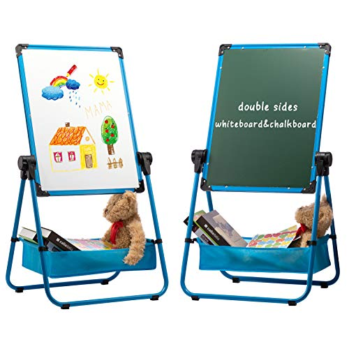 DOEWORKS Pizarra Infantil Caballete para niños, Pizarra Blanca y Pizarra Pizarra Magnetica Infantil, Altura Ajustable & 360°Rotación con Conjunto Completo, Azul