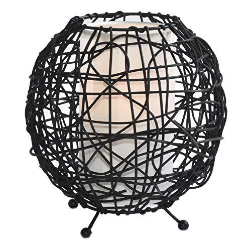 Tisch Lampe Ess Zimmer Rattan Stoff Strahler Muster Beistell Kugel Leuchte braun HI-LITE 12091018