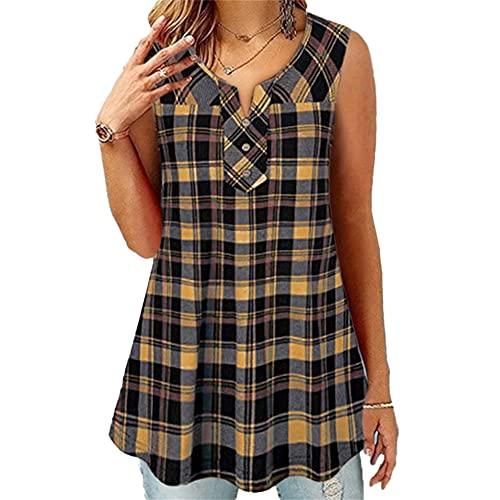 Elesoon Womens Canotta Estate T-Shirt Plus Size Plaid Gingham Scozia Senza Maniche Henley Collo Allentato Tee Camicetta, A-giallo, 46