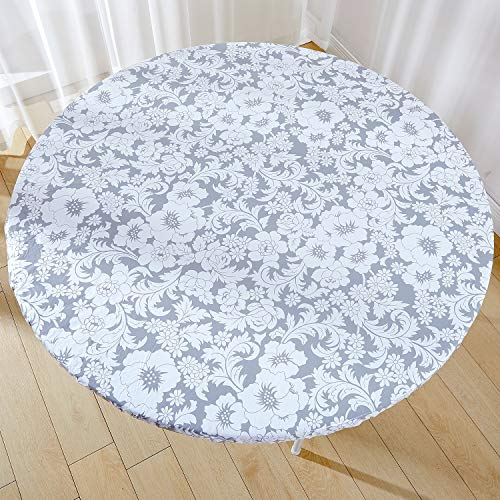 Jilimeli Vinyl Elastic Table Cover with Flannel Backing for Round Table, Reusable and Waterproof, Gray Floral Design, 45 to 56 inch Large Round Fitted Tablecloth, for Indoor and Outdoor Dining