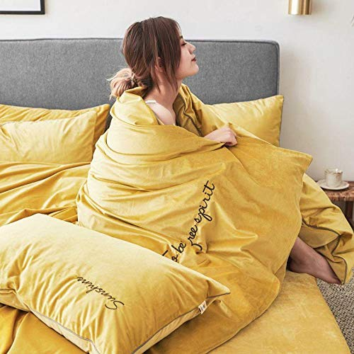 yaonuli Einfarbig vierteilige Stickerei Kristall Samt vierteilige gelb 2,0 m Bett (Bettbezug 220 * 240 cm)