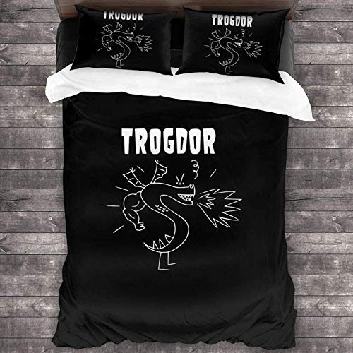 Yuanmeiju Juego de Cama Trogdor Rulez Fashion 3 Piece Bedding Set Duvet Cover for Full Twin Size Bed Ultra Soft Breathable for Bedroom 2 Piece Pillow Cover and Duvet Cover