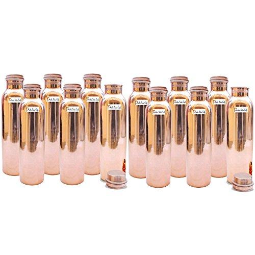 Prisha India Craft - Juego de 12 botellas de agua de cobre puro para beneficios de la salud, sin juntas, hechas a mano, regalo de Navidad (900 ml)