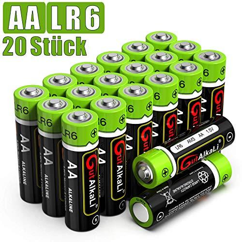 GutAlkaLi Batterien Mignon Alkali, AA,LR6, 20 Stück für Kameras, Spielecontroller, Spielzeug und...