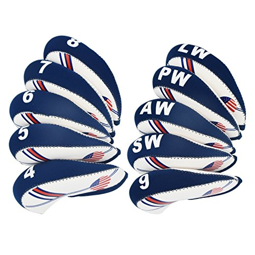 Golf Irons Club Head Covers Wedge Iron Protective Head Cover with Golf White & Blue US Flag Neoprene (Blue,White, 10 pcs)