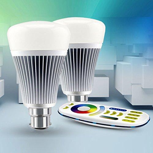 LIGHTEU, 2 x Ampoule LED WiFi avec télécommande sans fil, 8W/B22, Couleur RVB/RGB plus blanc chaud et blanc froid, intensité variable, changement de couleur avec télécommande, 2.4Ghz RF à distance, système de contrôle Android et iPhone (2 x Ampoule 8W/B22 + Télécommande) [Classe énergétique A+]