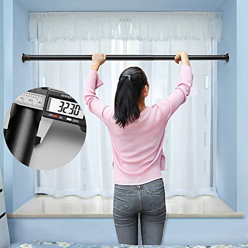MEVIDA 32mm Feder Teleskop-vorhangstange, Ausziehbare Edelstahl Duschvorhang Stange Kein Bohrer Einfach Installieren Single Rod Schrank Stange Kleidung Stange-schwarz 70-110cm(28-43inch)