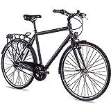 CHRISSON 28 Zoll Citybike Herren - City One schwarz matt 56 cm - Herrenfahrrad mit 7 Gang Shimano Nexus Nabenschaltung