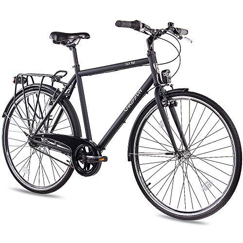 CHRISSON 28 Zoll Citybike Herren - City One schwarz matt 53 cm - Herrenfahrrad mit 7 Gang Shimano Nexus Nabenschaltung - praktisches Cityfahrrad für Männer