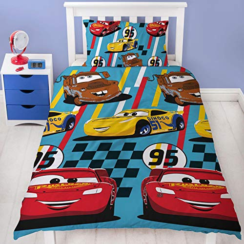 Official Disney Cars Dinoco Single Duvet Cover Rescue Design | Reversible Two Sided Bedding Duvet Cover Featuring Lightning Mcqueen & Mater With Matching Pillow Case