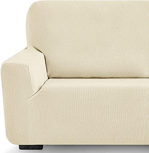 Funda elástica Sofa Adaptable rústica (2 Plazas (130-180 cn), Marfil)