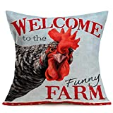 Smilyard Welcome Farm Farmhouse Pillow CoversAnimal Rooster Head Pattern Cotton Linen Decorative Throw Pillow CaseCock Home Decor Rustic Cushion Cover for Sofa Couch 18x18 Inch (Cock Head)