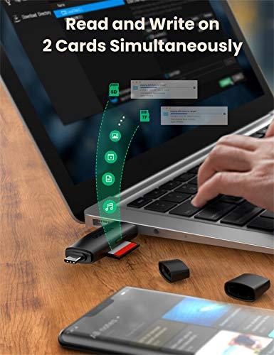 UGREEN USB C Kartenleser SD Micro SD USB 3.0 Adapter Card Reader für SD, SDHC, SDXC, Micro SD, Micro SDHC, Micro SDXC Typ C Karten Lesegerät für iPad Pro 2020/2018, Galaxy S20/A51, MacBook Pro usw