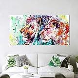 N / A Pintura sin Marco Lienzo Arte de la Pared Animal Imagen póster impresión decoración del hogar león parejaZGQ7282 50x100cm