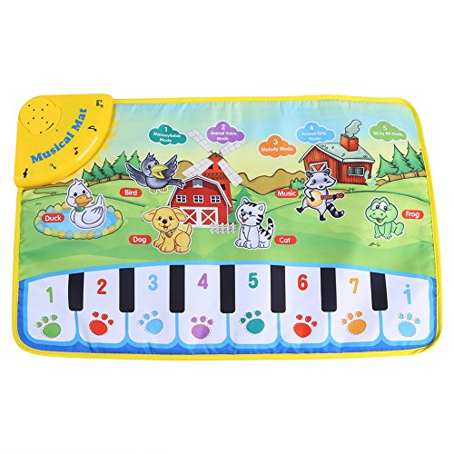 Fdit Kinderteppich, Musik, Ramper Klavier, multifunktional, für Baby, Musik, Decke, Motiv mit Tieren, Geschenk, 60 x 39 cm