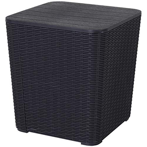 Outsunny 50L Outdoor Patio Resin Rattan Wicker Knit Square Coffee Table Bar Table Garden Furniture Bucket - Black