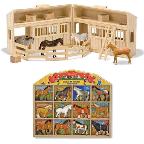 Melissa & Doug Fold and Go Mini Stable with 12 Horse Pasture Pals Bundle