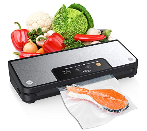 Vacuum Sealer Machine, Allkeys 80Kpa Food Sealer Automatic Vacuum Air Sealing System Compact Design with Dry & Moist Food Modes Built-in Cutter, Starter Kit Include One Roll Vacuum Sealing Bags