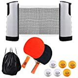 Table Tennis Set for Any Table,Portable Ping Pong Paddle Set with Retractable Net, 2 Rackets, 6 Balls and...