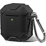 AirPods Case Armor [Front LED Visible], GMYLE Silicone Cover Luxury Heavy Duty Defender Protective Shockproof Wireless Charging with Keychain Accessory Kit Compatible for Apple AirPods 1 & 2, Black